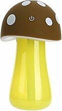 moxo Mini Pilz Nachtlicht Luftbefeuchter USB Ladekabel braun