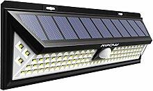 Mpow 102 LED Bewegungssensor Solarlicht, Helle Wandleuchte Solarleuchten, 3 Optionale Beleuchtung Modi, große Sonnenkollektor, 120 ° Erfassungswinkel, Wetterfest, große Außenbeleuchtung für Garten, Auffahrt, Hof, Garage, Weg und Terrasse