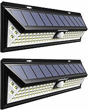 Mpow 102 LED Bewegungssensor Solarlicht, Helle Wandleuchte Solarleuchten, 3 Optionale Beleuchtung Modi, große Sonnenkollektor, 120 ° Erfassungswinkel, Wetterfest, große Außenbeleuchtung für Garten, Auffahrt, Hof, Garage, Weg und Terrasse, 2 Stücke