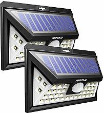 Mpow 40 LED Bewegungssensor Solarlicht, Helle Wandleuchte Solarleuchten, 3 Optionale Beleuchtung Modi, große Sonnenkollektor, 120 ° Erfassungswinkel, Wetterfest, große Außenbeleuchtung für Garten, Auffahrt, Hof, Garage, Weg und Terrasse, 2 Stücke