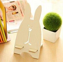 mqhrsy Holz Kaninchen Form Handy Ständer Schreibtisch STATION Halterung (weiß)