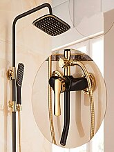 MQHY Duscharmaturen, heiße und kalte Heben und Senken Duschköpfe suit Badezimmer Alle Kupfer Schwarz Gold Dusche Wasserhahn Edelstahl Big Mischbatterie Dusche