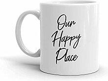 MQJJ Unser Happy Place Home Decor 11 Unzen Keramik
