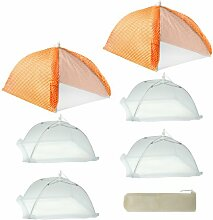Mr. Bar B Q 7-teilig Cabana Stil Regenschirm, Elastomerkunststoff, Orange