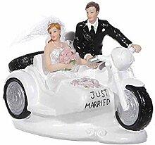 Mr.Giggelz Brautpaar auf Motorrad mit Beiwagen