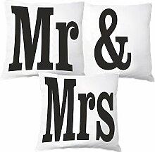 Mr & Mrs 3er Kissen Set Zierkissen Dekokissen Geschenkidee Liebe Valentinstag Geschenk Freundin Freund Hochzeit Mann Frau Se