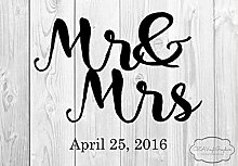 Mr Mrs Hochzeits-Vinyl-Aufkleber, rustikale