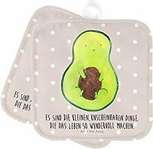 Mr. & Mrs. Panda 2er Set Topflappen Avocado mit Kern - 100% handmade in Norddeutschland - Avocado, Avokado, Avocadokern, Kern, Pflanze, Spruch Leben Topflappen, Topfuntersetzer, Ofenhandschuh, Topflappen Set, Handschuhe, Kochen, Küche