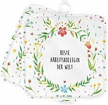 Mr. & Mrs. Panda 2er Set Topflappen Beste Arbeitskollegin der Welt - Arbeitskollegin, Kollegin, Freundin, Büro, Abschiedsgeschenk, Ruhestand, Arbeit, Mitarbeiterin, Berufsgenossin, Beruf, Dankeschön Geschenk Geschenkidee Danke Dankeschön Anhänger Bedanken Geburtstag Weihnachten Jubiläum Schenken Liebe Danke Liebesgeschenk