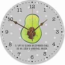 Mr. & Mrs. Panda 30 cm Wanduhr Avocado mit Kern - 100% handmade in Norddeutschland - Avocado, Avokado, Avocadokern, Kern, Pflanze, Spruch Leben Wanduhr, Uhr, Kunderuhr, Kinderzimmer, Rund, Druck