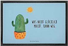 Mr. & Mrs. Panda 60 x 90 Fußmatte Kaktus Sonnenanbeter - 100% handmade in Norddeutschland - Sonnenschein, Glück, Trennung, Gummi Velour Stoff, glücklich, Geschenkidee, Kakteen, Neustart, Kaktus, Sonne, Freundin, Motivation
