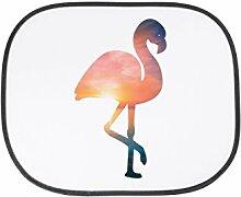 Mr. & Mrs. Panda Auto Sonnenschutz Flamingo - 100% handmade in Norddeutschland - Flamingo, Pink, Federn, Flusskrebse Sonnenschutz, Auto, Sonnenblende, Fenster, PKW, Kinder, Familie, Geschenk, Rücksitz