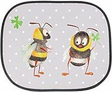 Mr. & Mrs. Panda Auto Sonnenschutz Hummeln mit Kleeblatt - 100% handmade in Norddeutschland - Hummel, Biene, Spruch positiv, Biene Deko, Spruch schön, glücklich sein, glücklich werden, Spruch fröhlich Sonnenschutz, Auto, Sonnenblende, Fenster, PKW, Kinder, Familie, Geschenk, Rücksitz