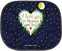Mr. & Mrs. Panda Auto Sonnenschutz Love u to the moon & back - 100% handmade in Norddeutschland - Spruch Hochzeitstag, Auto, Geschenk, romantisch, Mond, Spruch englisch, Fenster, Kinder, PKW, Liebe Spruch, Sonnenblende, Rücksitz