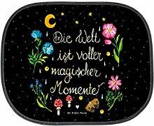 Mr. & Mrs. Panda Auto Sonnenschutz Magische Welt - 100% handmade in Norddeutschland - Geschenk, Weisheit, Sonnenblende, Auto, schwarz, Kinder, Spruch schön, Magische Momente, Motivation, Rücksitz, Nacht, magisch