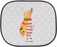 Mr. & Mrs. Panda Auto Sonnenschutz Nachtfalter mit Fähnchen - 100% handmade in Norddeutschland - niedlich, Familie, Sonnenblende, süß, Spruch witzig, Nachtfalter, Auto, Küche Deko, Käfer, Kinder, Was kostet die Welt, Kunstfaser
