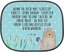 Mr. & Mrs. Panda Auto Sonnenschutz Otter mit Stein - 100% handmade in Norddeutschland - Sonnenschutz, Auto, Kinder, Familie, Fenster, PKW, Kunstfaser, Rücksitz, Sonnenblende, Otter Seeotter See Otter, Geschenk