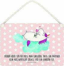 Mr. & Mrs. Panda Deko Schild Einhorn verliebt auf Wolke - 100% handmade in Norddeutschland - Einhorn, Einhörner, Unicorn, verliebt, Liebe, Liebesbeweis, Freundin, Wolke Schild, Wanddeko, Dekoschild