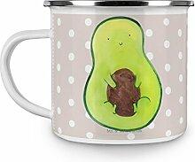 Mr. & Mrs. Panda Emaille Tasse Avocado mit Kern - 100% handmade in Norddeutschland - , Becher, Campingbecher, Avocado, Pflanze, Camping, Spruch Leben , Kern, Tasse, Kaffeebecher, Avocadokern, Emaille Tasse
