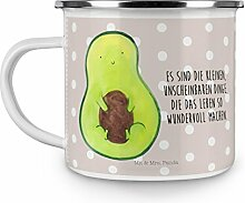 Mr. & Mrs. Panda Emaille Tasse Avocado mit Kern - 100% handmade in Norddeutschland - Kaffeebecher, Metalltasse, Emaille Tasse, Kern, , Kaffeetasse, Spruch Leben , Pflanze, Avocado, Avocadokern, Becher, Campingbecher