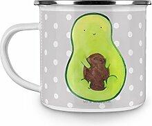 Mr. & Mrs. Panda Emaille Tasse Avocado mit Kern -