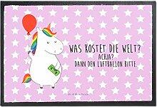 Mr. & Mrs. Panda Fußmatte Einhorn Luftballon - 100% handmade in Norddeutschland - Einhorn, Einhörner, Unicorn, Luftballon, Geld, Lebenslust, Freude, Geschenk, Freundin Fußmatte, Türvorleger, Schmutzmatte, Fussabtreter, Matte, Schmutzfänger