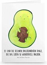 Mr. & Mrs. Panda Grußkarte Avocado mit Kern - 100% handmade in Norddeutschland - Avocado, Avokado, Avocadokern, Kern, Pflanze, Spruch Leben Grusskarte, Klappkarte, Einladungskarte, Karte