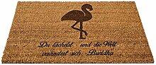 Mr. & Mrs. Panda Kokos Fußmatte Flamingo - 100% handmade in Norddeutschland - Flamingo, Pink, Federn, Flusskrebse Fußmatte, Türvorleger, Schmutzmatte, Fussabtreter, Schmutzfänger, Kokos, Haustür, Geschenk