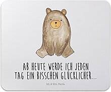 Mr. & Mrs. Panda Mauspad Druck Bär sitzend - 100% handmade in Norddeutschland - Mouse Pad, Mousepad, Computer, PC, Männer, Mauspad, Maus, Geschenk, Druck, Schenken, Motiv, Arbeitszimmer, Arbeit, Büro