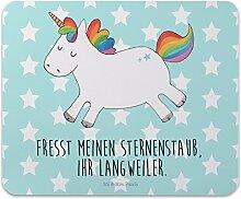 Mr. & Mrs. Panda Mauspad Druck Einhorn Happy - 100% handmade in Norddeutschland - Spaß, Gummi Natur Kautschuk, Lachen, Freude, glücklich, Lebensfreude, Büro, Mousepad, Mouse Pad, Arbeit, Einhorn, Männer
