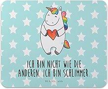 Mr. & Mrs. Panda Mauspad Druck Einhorn Herz - 100% handmade in Norddeutschland - Einhorn, böse, lustig, Mauspad, anders, Männer, Geschenk, Computer, Herz, bunt, Büro, Motiv