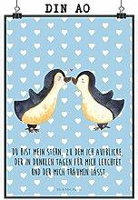 Mr. & Mrs. Panda Poster DIN A0 Pinguin Liebe - 100% handmade in Norddeutschland - Geschenkidee, Bild, Pinguin, Paar, Geschenk Freundin, Verlobung, Gastgeschenk, Geschenk, Geschenk Freund, Jahrestag, Liebe, Hochzeitstag