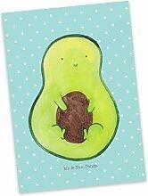 Mr. & Mrs. Panda Postkarte Avocado mit Kern - 100% handmade in Norddeutschland - Avocado, Avokado, Avocadokern, Kern, Pflanze, Spruch Leben Postkarte, Geschenkkarte, Grußkarte, Klappkarte, Karte, Einladung