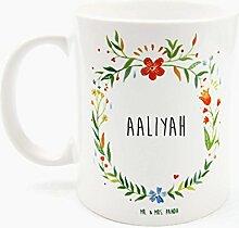 Mr. & Mrs. Panda Tasse Aaliyah Design Frame Barfuß Wiese - 100% handgefertigt aus Keramik Holz - Anhänger, Geschenk, Vorname, Name, Initialien, Graviert, Gravur, Schlüsselbund, handmade, exklusiv