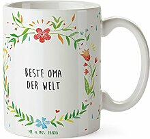 Mr. & Mrs. Panda Tasse Beste Oma der Welt - 100% mit Liebe handgefertigt - Geschenk Geschenkidee Danke Dankeschön Anhänger Bedanken Geburtstag Weihnachten Jubiläum Valentinstag Schenken Liebe Danke Liebesgeschenk
