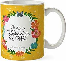 Mr. & Mrs. Panda Tasse Beste Urgrosseltern der Welt - 100% mit Liebe handgefertigt - Geschenk Geschenkidee Danke Dankeschön Anhänger Bedanken Geburtstag Weihnachten Jubiläum Valentinstag Schenken Liebe Danke Liebesgeschenk