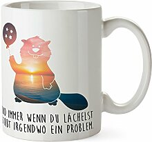 Mr. & Mrs. Panda Tasse Biber mit Ballon - 100% handmade in Norddeutschland - Biber, Ballon, Luftballon, Sternchen, Sterne, Staudamm, Nager Tasse, Becher, Kaffeetasse, Geschenk, Teetasse, Tee, Cup, Schenken, Frühstück