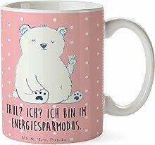 Mr. & Mrs. Panda Tasse Eisbär Faul - 100% handmade in Norddeutschland - Tasse, Frühstück, Homeoffice,, Eisbär, Becher, Arbeitsplatz, Nordpol, Bürojob, Relaxen, Bär, Kaffeetasse, Cup
