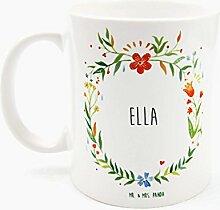 Mr. & Mrs. Panda Tasse Ella Design Frame Barfuß Wiese - 100% handgefertigt aus Keramik Holz - Anhänger, Geschenk, Vorname, Name, Initialien, Graviert, Gravur, Schlüsselbund, handmade, exklusiv