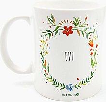 Mr. & Mrs. Panda Tasse Evi Design Frame Barfuß Wiese - 100% handgefertigt aus Keramik Holz - Anhänger, Geschenk, Vorname, Name, Initialien, Graviert, Gravur, Schlüsselbund, handmade, exklusiv