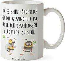 Mr. & Mrs. Panda Tasse Hummeln mit Kleeblatt - 100% handmade in Norddeutschland - Hummel, Biene, Spruch positiv, Biene Deko, Spruch schön, glücklich sein, glücklich werden, Spruch fröhlich Tasse, Becher, Kaffeetasse, Geschenk, Teetasse, Tee, Cup, Schenken, Frühstück