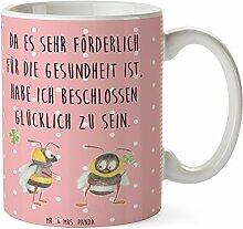 Mr. & Mrs. Panda Tasse Hummeln mit Kleeblatt - 100% handmade in Norddeutschland - Schenken, Cup, Tee, glücklich werden, Frühstück, Keramik, Biene, Teetasse, Hummel, Biene Deko, Becher, Spruch positiv