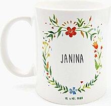 Mr. & Mrs. Panda Tasse Janina Design Frame Barfuß Wiese - 100% handgefertigt aus Keramik Holz - Anhänger, Geschenk, Vorname, Name, Initialien, Graviert, Gravur, Schlüsselbund, handmade, exklusiv