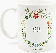 Mr. & Mrs. Panda Tasse Kaja Design Frame Barfuß Wiese - 100% handgefertigt aus Keramik Holz - Anhänger, Geschenk, Vorname, Name, Initialien, Graviert, Gravur, Schlüsselbund, handmade, exklusiv