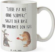 Mr. & Mrs. Panda Tasse Liebe ist nie ohne Schmerz - 100% handmade in Norddeutschland - Igel und Hase, Igel, Hase, Liebe Spruch, Liebeskummer Geschenk, Herzschmerz, Trösten, Trennungsschmerz, Spruch romantisch Tasse, Becher, Kaffeetasse, Geschenk, Teetasse, Tee, Cup, Schenken, Frühstück