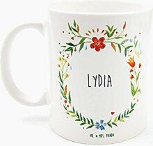 Mr. & Mrs. Panda Tasse Lydia Design Frame Barfuß Wiese - 100% handgefertigt aus Keramik Holz - Anhänger, Geschenk, Vorname, Name, Initialien, Graviert, Gravur, Schlüsselbund, handmade, exklusiv