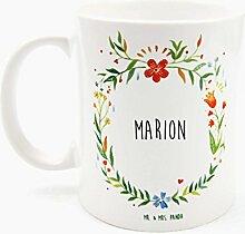 Mr. & Mrs. Panda Tasse Marion Design Frame Barfuß Wiese - 100% handgefertigt aus Keramik Holz - Anhänger, Geschenk, Vorname, Name, Initialien, Graviert, Gravur, Schlüsselbund, handmade, exklusiv