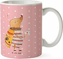 Mr. & Mrs. Panda Tasse Nachtfalter mit Fähnchen - 100% handmade in Norddeutschland - Cup, Nachtfalter, Becher, Teetasse, süß, Käfer, niedlich, Keramik, Küche Deko, Tee, Porzellan, Kaffeetasse