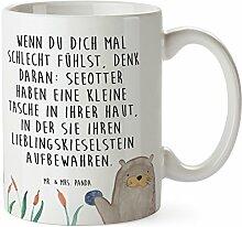 Mr. & Mrs. Panda Tasse Otter mit Stein - 100% handmade in Norddeutschland - Otter Seeotter See Otter Tasse, Becher, Kaffeetasse, Geschenk, Teetasse, Tee, Cup, Schenken, Frühstück