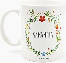 Mr. & Mrs. Panda Tasse Samantha Design Frame Barfuß Wiese - 100% handgefertigt aus Keramik Holz - Anhänger, Geschenk, Vorname, Name, Initialien, Graviert, Gravur, Schlüsselbund, handmade, exklusiv